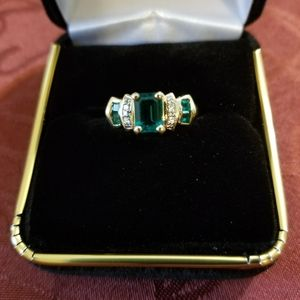 Jewelry - Lady's Emerald and Diamond Ring in 14k Yellow Gold